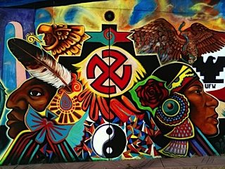 Desde la logan the grand orchid of our barrio chicano for Mural quetzalcoatl