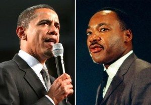 Barack Obama and Martin Luther King.