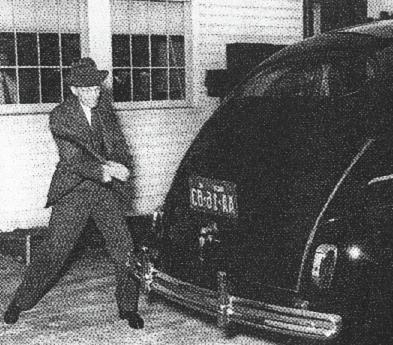 "Henry Ford demonstrates the strength of his car ""grown"" from a combination of hemp and other annual crops, and designed to run on hemp fuel, by smashing it with a crowbar. (Popular Mechanics, 1941)"