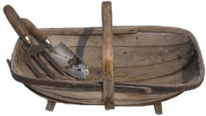 trug with tools
