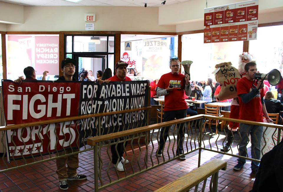 Marching Inside Wendy's just one year ago... (SEIU Photo)
