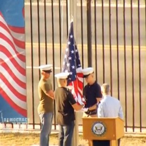 Three Marines raise U.S. flag at the U.S. embassy in Havana, Cuba, August 14, 2015