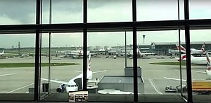 Airport tarmac through waiting room window