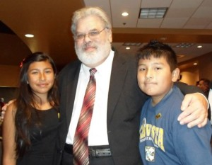 Cesar Chavez breakfast 2015 - John Armington with Adriana and Eligh Segovia