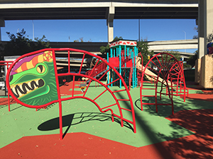 New playground additions fit the Mesoamerican theme of Chicano Park.