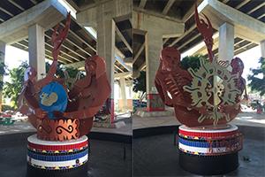 Artist Raul Jaquez's sculpture fountain received a facelift.