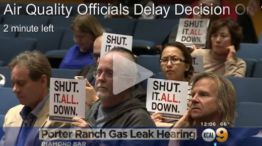 KCAL screen shot of a protest at Porter Ranch gas leak hearing