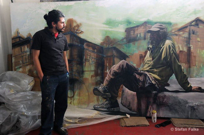 Alfredo Libre Gutierrez at his studio in Tijuana in 2009. Back then the painter and muralist portrayed the homeless (some of them American) in Tjuana in a series called Vagabundos. Libre Guiterrez is a crew member of the Tijuana based artist group Hem.