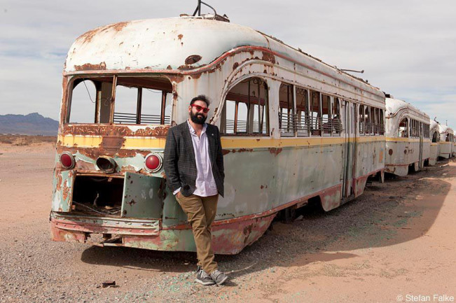 Photographer (recently turned politician) Peter Svarzbein at the trolley depot in the desert near the airport of El Paso, Texas.