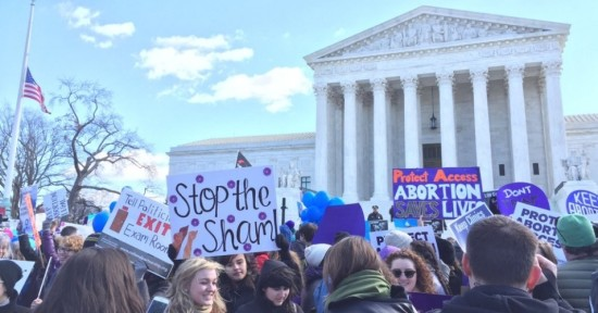 "Women protest outside the U.S. Supreme Court on Wednesday against ""sham"" abortion laws that have threatened their health and autonomy. (Photo: NARAL Pro-choice NC/Twitter)"