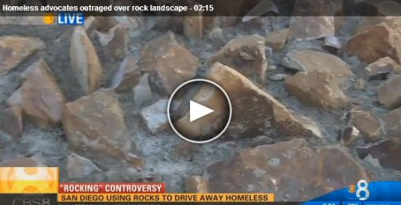 Screenshot of Channel 8 video on San Diego using rocks to drive away homeless