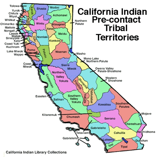 A few tribes shown on the map refer to themselves with different names today. For instance, many Gabrieleños prefer Tongva and most Tipai-Ipai call themselves Kumayaay.
