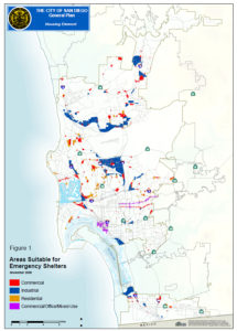 """City of San Diego map showing """"Areas suitable for emergency shelters"""""""