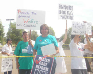 Healthcare reform supporters at Susan Davis' Spring Valley townhall