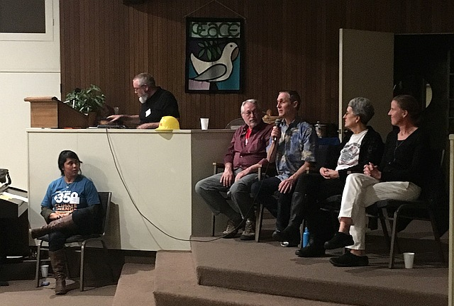 """Four """"Valve Turners"""" seated in chairs as guest speakers at SD350 event"""