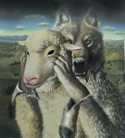 Illustration of wolf holding a lamb mask