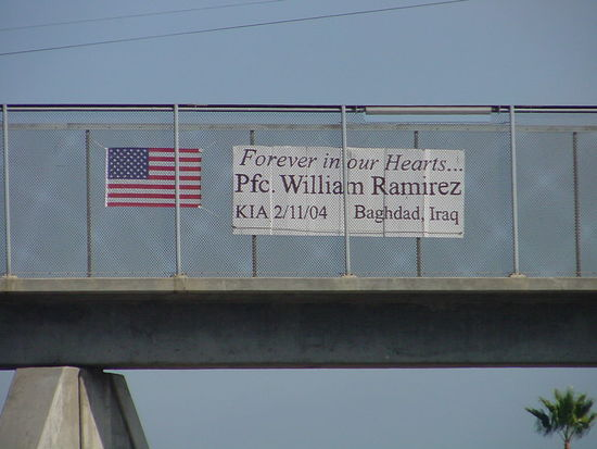 Pfc. William Ramirez memorial banner on freeway overpass