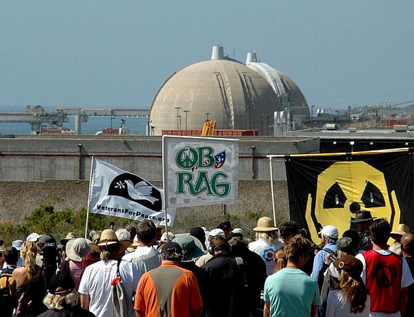 Protesters at San Onofre, 3-11-12, OB Rag flag visible