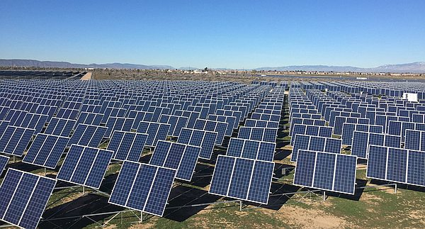 Field of solar panel collectors in Lancaster, CA