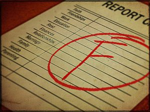 """Report card with letter """"F"""""""
