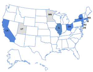 Map showing states with or considering CCE programs